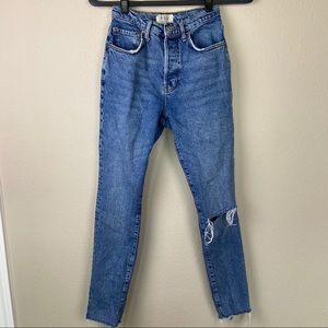 WE THE FREE PEOPLE Raw Hem High Rise Jeans 26